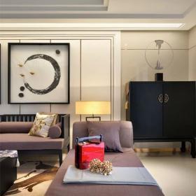 中式家装客厅收纳柜效果图