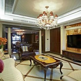 美式客廳瓷磚效果圖片