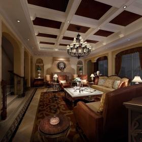 美式家庭客廳吊頂設計圖
