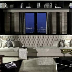 中式家装客厅沙发窗帘效果图