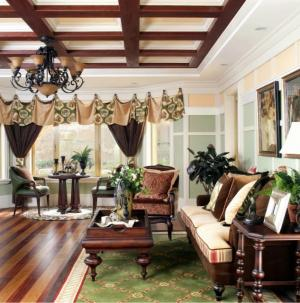 美式田園客廳沙發照片墻裝修案例