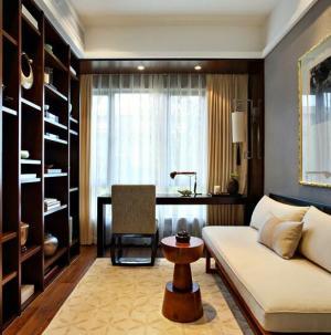 120平新中式风格家装设计书房效果图