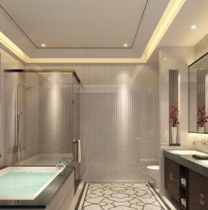 136平新中式风格家装浴室效果图