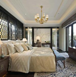124平中式典雅精致別墅裝修臥室效果圖