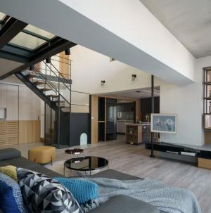 簡約復式風格客廳裝修設計圖片