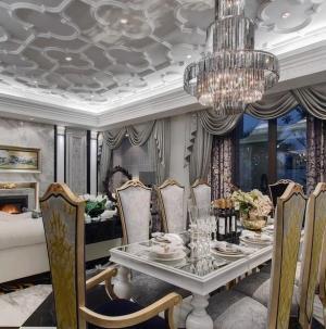 新古典奢華別墅餐廳客廳設計