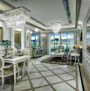 137平欧式奢华舒适餐厅客厅效果图