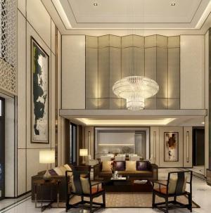 136平新中式风格家装客厅效果图