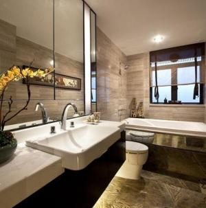 典雅独特现代中式三居装修浴室效果图