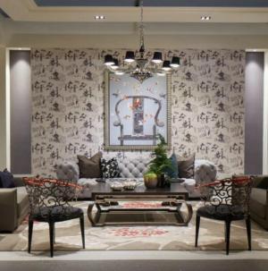109平時尚混搭風格家裝設計客廳效果圖
