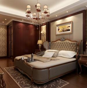 128平简欧风格别墅卧室设计效果图