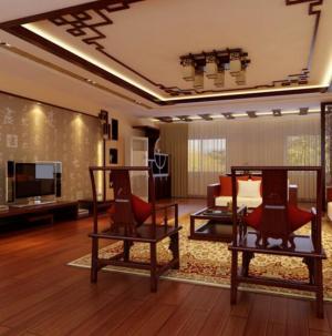 最新中式风格大气别墅装修客厅效果图