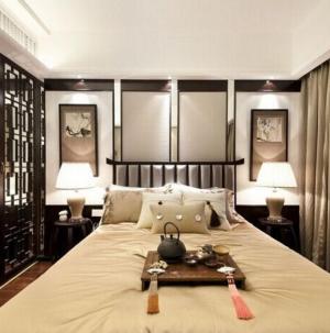 典雅独特现代中式卧室隔断效果图