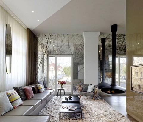 寬敞住宅空間客廳背景墻設計圖