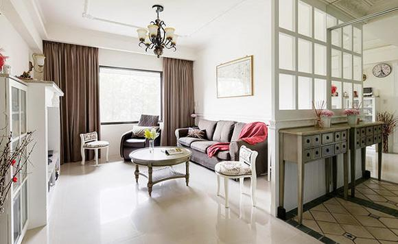 美式簡約三房客廳設計圖片