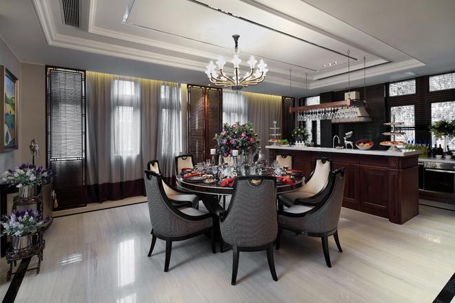 央筑花園新古典風格家居餐廳設計