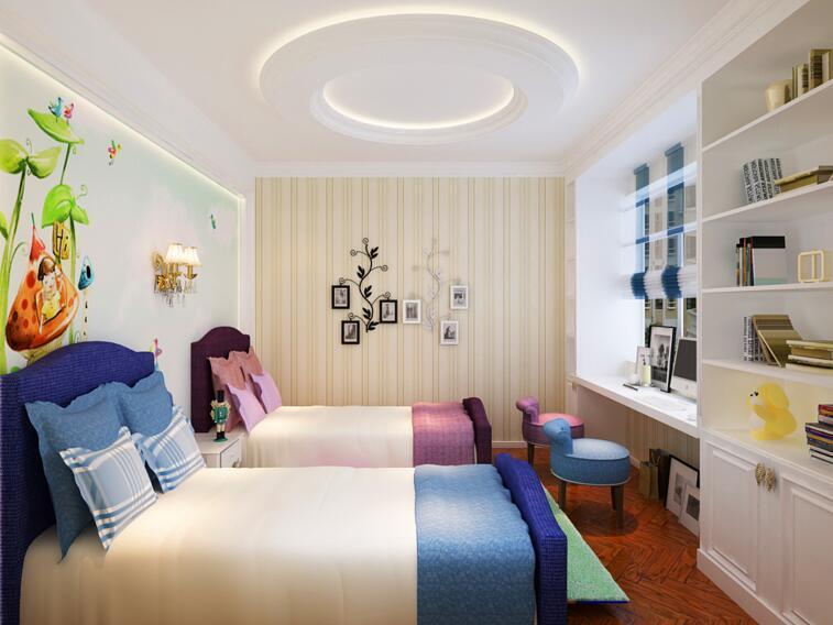 歐式現代風格別墅兒童雙人臥室設計