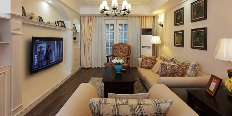 98平米简约风格客厅沙发照片墙设计