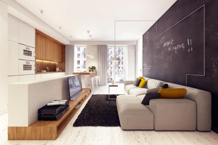 40平米小户型混搭风格客厅背景墙效果图