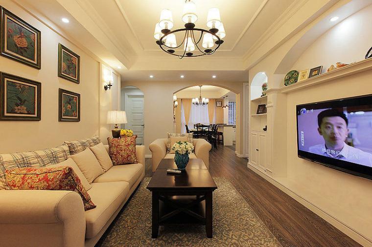 98平米简约风格客厅灯具装饰设计