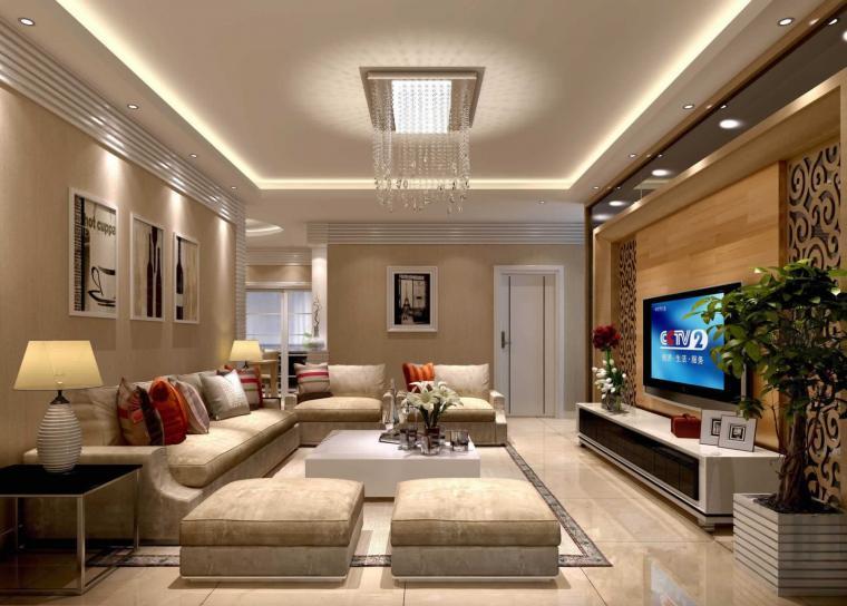 106平米簡約風格客廳水晶燈裝飾設計