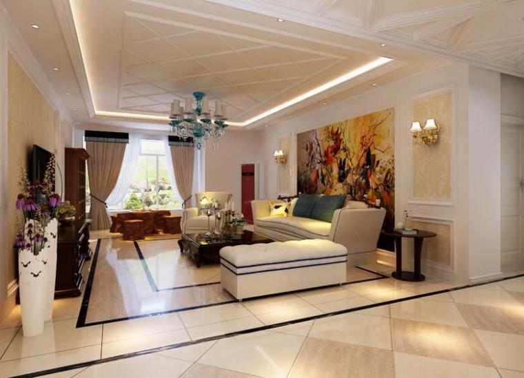 歐式現代風格別墅設計客廳效果圖