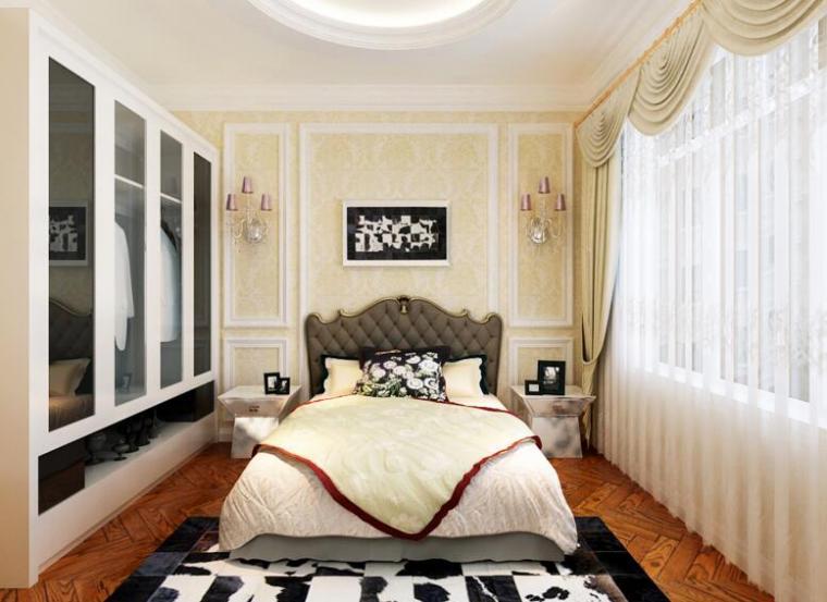歐式現代風格別墅臥室背景墻效果圖