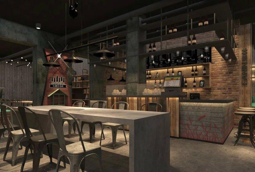 简约复古风咖啡厅收银台装修
