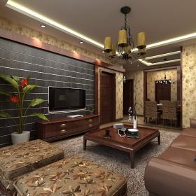 百商悅瀾山中式鞥個家庭兩居室裝修設計圖