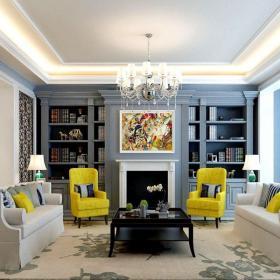 現代美式風格四居室樣板間效果圖