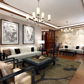現代中式三居室裝修樣板房效果圖