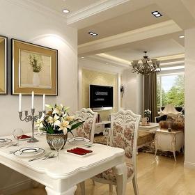 簡歐風格兩居室家庭裝修設計圖