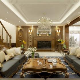 天下錦城復式美式風格復式樓裝修效果圖