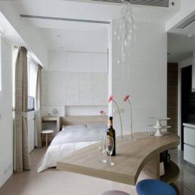 小公寓简约家庭吧台新房简单干净的小型吧台特写效果图欣赏