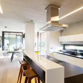 白色开放式厨房厨房吧台设计图效果图