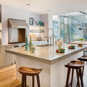 台面吧台吧台椅90㎡北欧时尚自然的开放式厨房吧台设计效果图大全