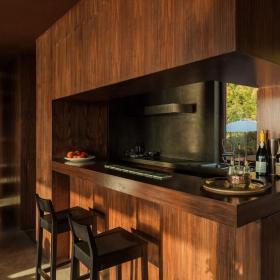 新房简约椅凳吧台椅小别墅简洁自然的木质家庭吧台设计效果图欣赏