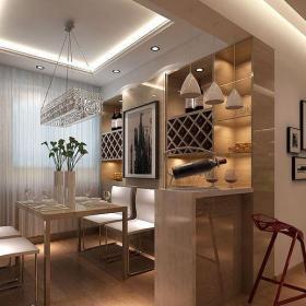混搭风格117平混搭三居室灰色吧台装修效果图