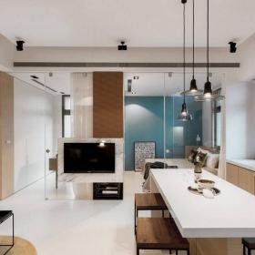 家庭吧台灯灯具椅一居椅凳50㎡时尚简洁的吧台设计效果图大全