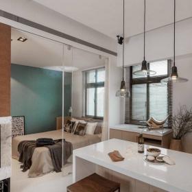 家庭吧台灯一居50㎡灯具时尚简洁的吧台设计效果图