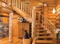 实木家具橙色120㎡过道乡村大户型别墅复式楼原汁原味的木色楼梯空间装修效果图