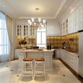 家庭吧台吧台椅吊灯台面门窗帘460㎡别墅欧式风格厨房背景墙装修效果图欧式风格橱柜图片
