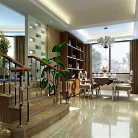 樓梯扶手吊燈餐臺餐邊柜樓梯家具窗簾現代風格餐廳吊頂裝修效果圖現代風格餐桌餐椅圖片