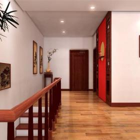 150平㎡四室两厅三卫一厨简约中式过道楼梯装修效果图简约中式风格置物架图片