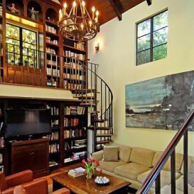 別墅客廳旋轉樓梯圖片效果圖