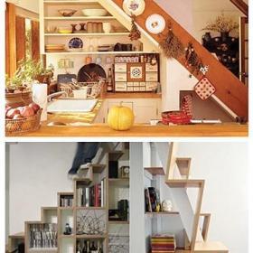 實木樓梯收納柜樓梯收納小廚房設計大全效果圖