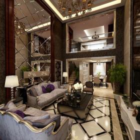 樓梯吊頂復式樓280平米歐式風格客廳沙發背景墻裝修效果圖復式樓280平米歐式風格茶幾圖片