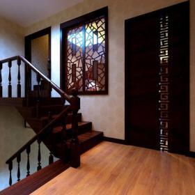 新中式扶手樓梯扶手208㎡四室兩廳三衛新中式風格過道樓梯圖片裝修效果圖