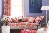 碎花壁纸地毯80㎡田园沙发背景墙一居客厅沙发客厅背景墙花海里的浪漫紫色装修效果图