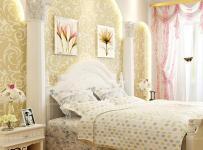 白色背景墻田園臥室床客廳背景墻小公主的溫馨韓式棲息地效果圖